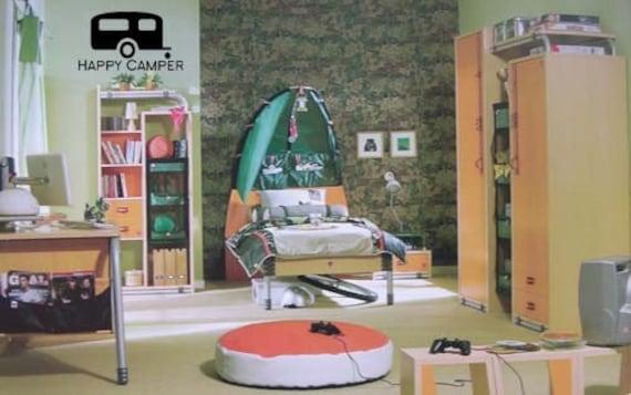Happy Camper Camping Bedroom 28x16 Vinyl Decor Wall Lettering Etsy
