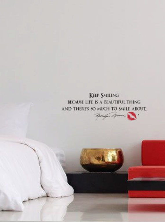 Keep Smiling Quote By Marilyn Monroe Lips 36x12 Vinyl Decor Etsy