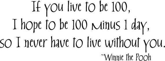 If You Live To Be 100 Winnie The Pooh 32x12 Vinyl Wall Etsy
