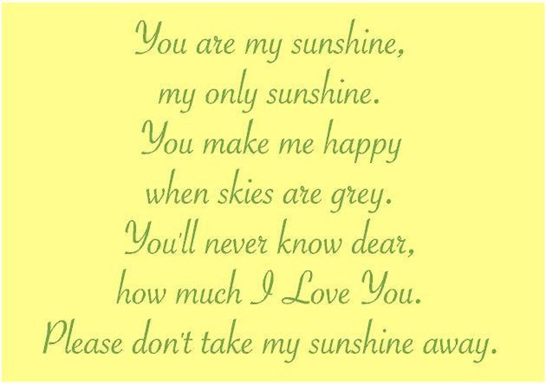 You Are My Sunshine my only Sunshine 29x22 Vinyl Wall Decal Nursery Bedroom Decor