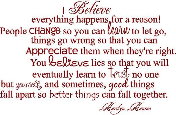 I Believe Everything Happens For A Reason Marilyn Monroe 34x22 Etsy