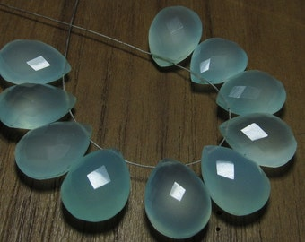 Gorgeous GREEN COLOUR CHALCEDONY 12x35 mm Long 3 Matched Pair Faceted Pear Briolett Drilled