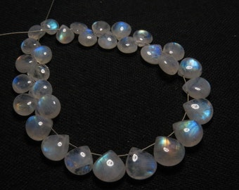 Rainbow Moonstone High Quality Smooth Heart shape Briolett- Gorgeous Blue Fire- size 12-14 mm AAA 7 pcs DRILLED Side By side