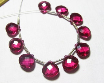 5 Matched Pairs Brand New Faceted Heart Briolettes amazing Gorgeous sparkle Huge Size 10x10 mm Pink Rubeilite  Quartz