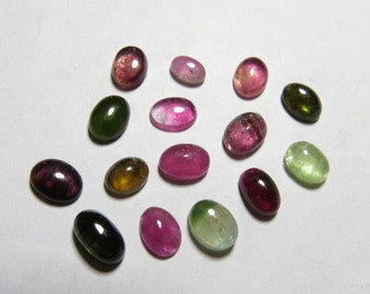 15 pcs 4x6-5x7 mm Oval shape Cabochon From Brazil Natural Color Multy Colors Mix TOURMALINE So Gorgeous Amazing size