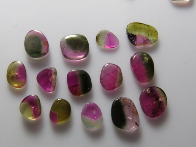 14 pcs Natural Color From Brazil -Nice Transparent TOURMALINE Bio Color Watermelon Mix Smooth Polished slices size- 5x6-7x9  mm