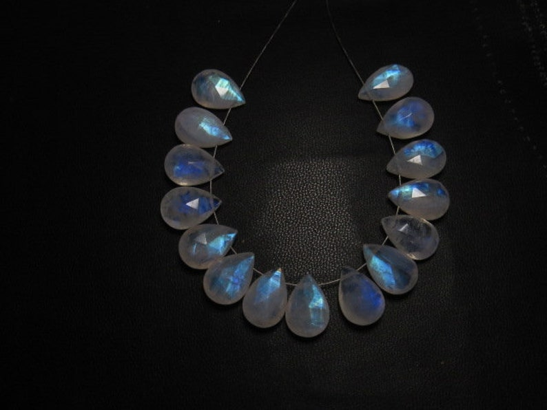 Gorgeous Beautifull Full Blue Flashy Fire Faceted Pear Briolett Huge Size High Quality Rainbow Moonstone 9x13 mm 15 pcs AAA
