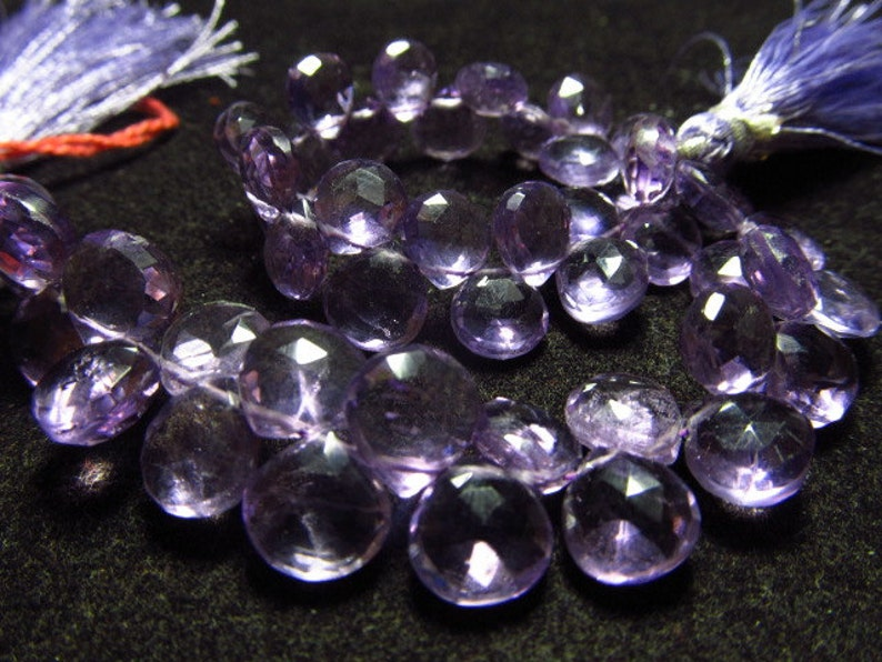 7-8 mm approx PINK AMETHYST Quality 8 inches Strand AAA Gorgeous Faceted Heart Briolett Huge size