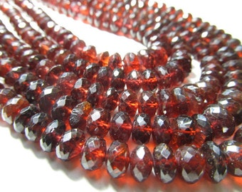 875 cts - Trully High Quality - Red Garnet - 5 x20 Inches  Neckless - Micro Facted Rondell Beads - Super Sparkle - Huge Size - 6 - 8 mm