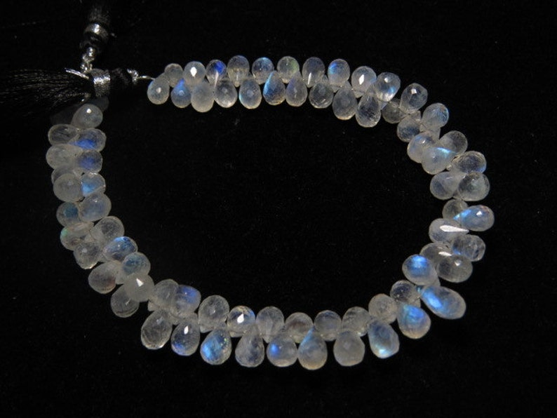 High Quality Micro Faceted Tear Drops Briolettes Gorgeous Blue Flashy Fire sparkle size- 8-10mm Long AAAA 8 Inches Rainbow Moonstone