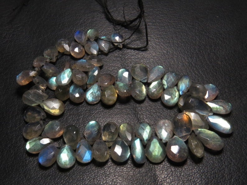 Labradorite 8 Inches strand AAA High Quality So Gorgeous Multy Strong Flash Fire Faceted Pear Briolletes Huge size 7-11 mm Long