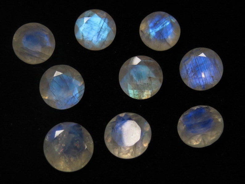 AAA Rainbow MOONSTONE High Quality So Gorgeous  Round Cut  Stone Super Sparkle Full Blue Flashy Fire size 14x14 mm 5 pcs