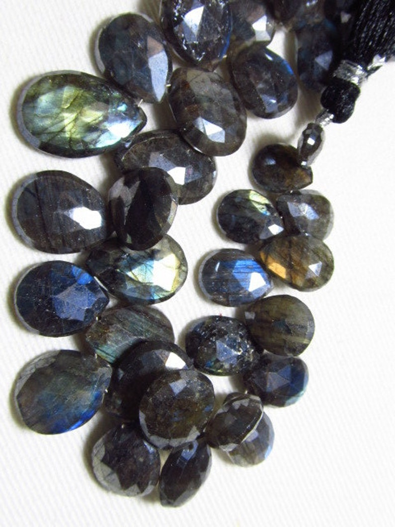 174 Crt LABRADORITE 8-17 mm Mystick Coatted Faceted Pear Briolettes Super Sparkle Nice Multy Flashy Fire Huge Size 8 inches
