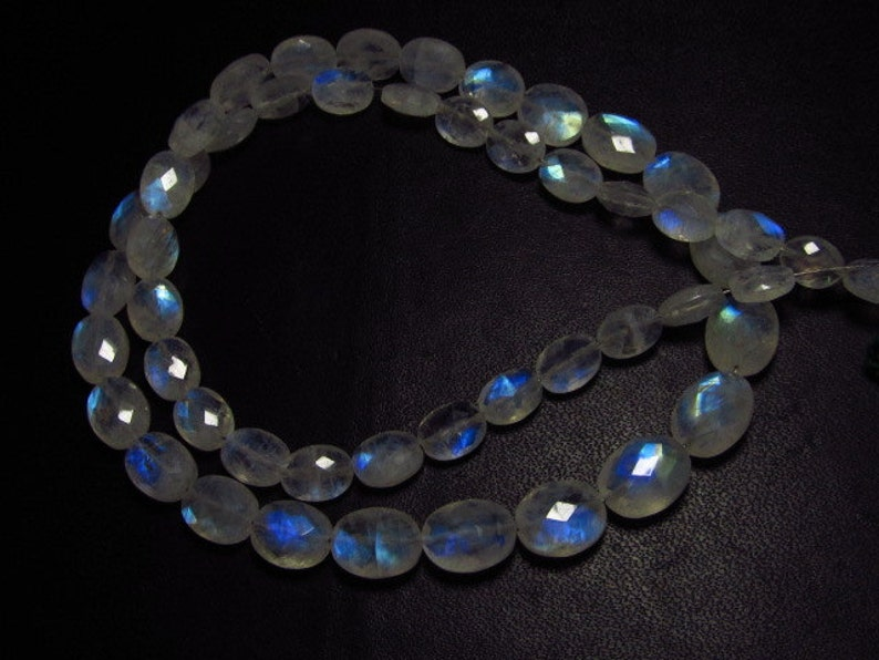 Quality So Nice 51 Pcs AAA 5x6.5-8x10 mm Rainbow Moonstone Faceted Oval Briolettes Nice Flashy Strong Fire size