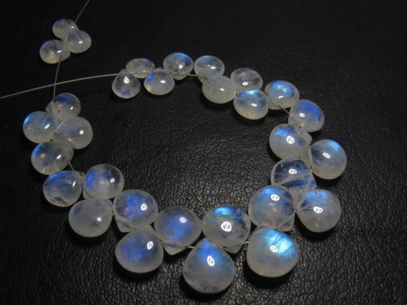 3 pcs Best Quality Rainbow Moonstone Blue Fire Smooth Polished briolett Tear Drops Size 8-10  mm