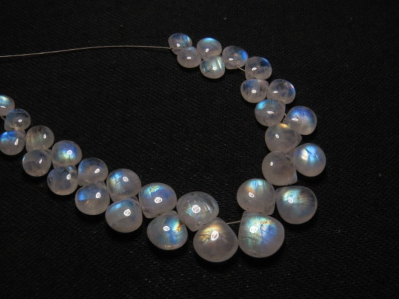 Rainbow Moonstone High Quality Smooth Heart shape Briolett- Gorgeous Rainbow Fire- size 6-10 mm DRILLED Side By side AAA 31 pcs