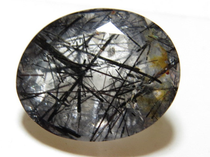 BLACK RUTILATED Quartz Faceted Oval Cut stone Transparent Huge size 14 Cts Excellent High Quality Rare 15x19 mm Height 9.5 mm