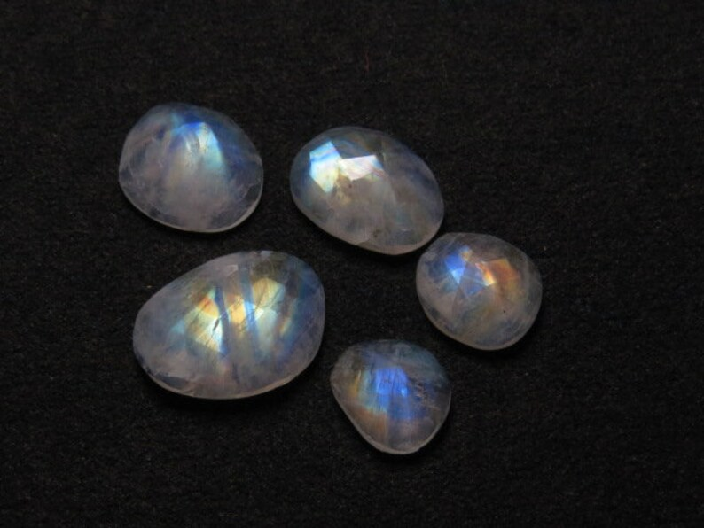 FOR ONE PIECE RAINBOW MOONSTONE ROSE CUT FACETED BRIOLETTE 15 X 40 FANCY SHAPE