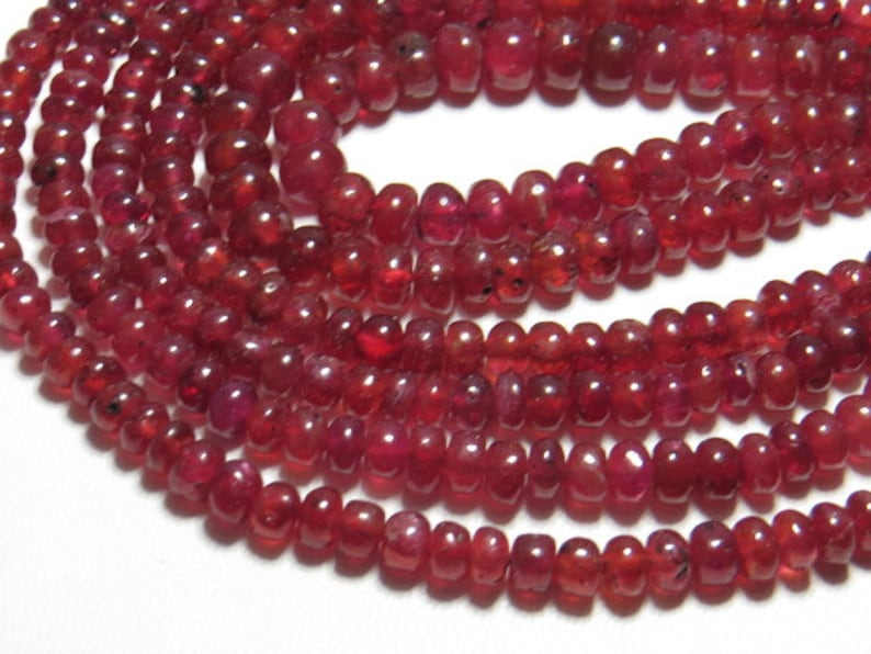RUBY 2 strand 3-6 mm size 274 Crt So Gorgeous Necklace 20 inches Long High Quality Smooth Polished Rondelle Beads
