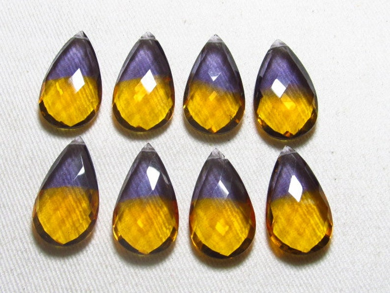 AAAA drilled 15x26 mm 4 Matched Pair High Quality Gorgeous Ametrine Quartz Pear Briolett Super Sparkle Huge size