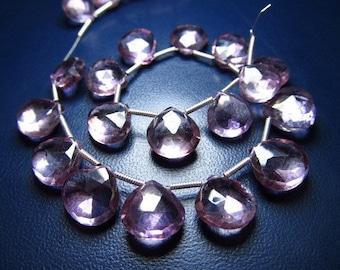 SUPER FINE - SUPER Sparkle - Gorgeous - Pink - Mystic Quartz - Faceted - Heart - Briolett- Nice Clear - 11 - 9.5 Mm Approx 21 Pcs