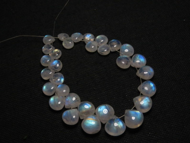 High Quality Smooth Heart shape Briolett- Gorgeous Rainbow Fire- size 6-9 mm Rainbow Moonstone DRILLED Side By side 31 pcs AAA