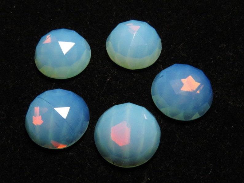 10 pcs QUARTZ Men Made Stone Opalite White Color So Gorgeous Nice Color Super Sparkle Rose Cut Cabochon  size 16x16 mm