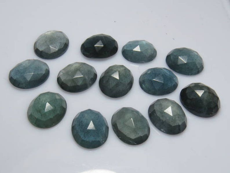Rose Cut Faceted Oval Shape  Cabochon  size 10 pcs So Gorgeous High Quality Natural Color MOSS AQUAMARINE 10x12 mm