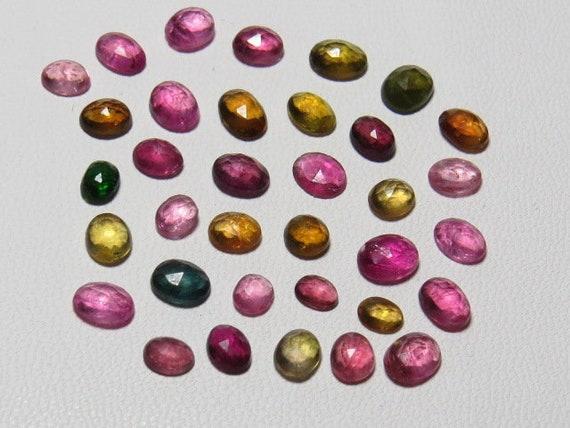 TOURMALINE Rose Taille Brésil ovale Cabochon naturel couleur Multy couleurs - du Brésil Taille - tellement magnifique incroyable Sparkle taille - 3.5x4 - 4.5x5.5 mm - 35pcs 7da9f8