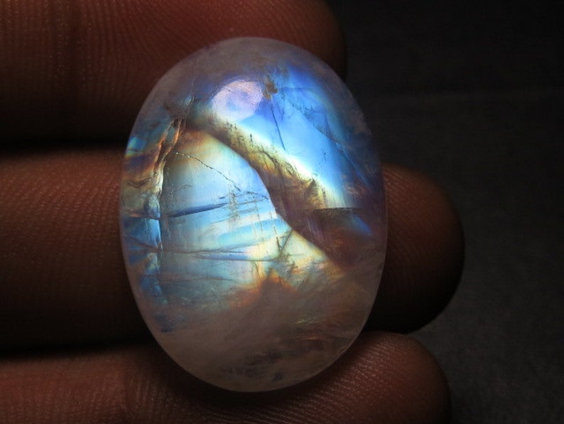 High Quality Gorgeous Blue  Fire Strong Flash Oval shape Cabochon 20x26 mm Huge Size Rainbow Moonstone