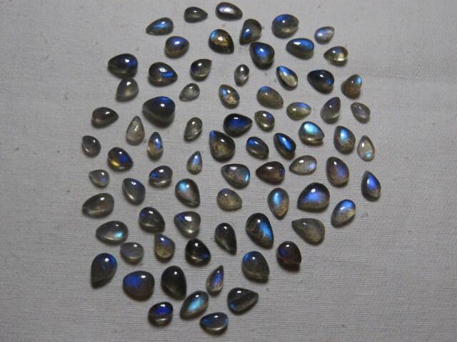 Labradorite - AAAAA - haute qualité - feu si magnifique pleine Flashy feu - en forme de poire Cabochon taille - 4 x 6 - 7 x 10 mm - 74 pcs gros Lot 84e5bf