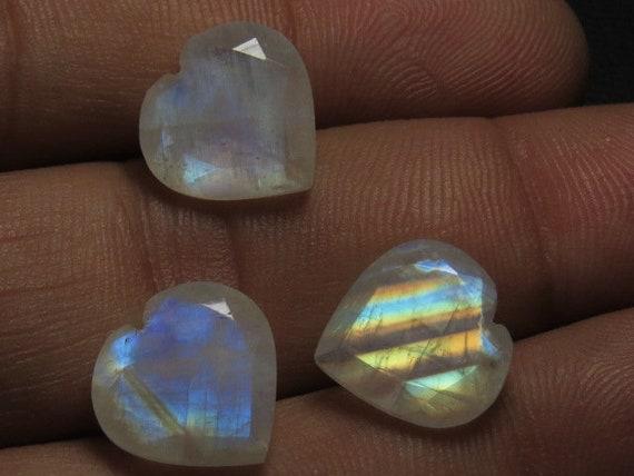 Arc-en-pierre de lune lune lune - AAA - haute qualité Fine couper coeur à facettes Cut - forme à facettes Sparkle - tellement magnifique Blue Fire taille 10 mm - 10 pièces 14ee70