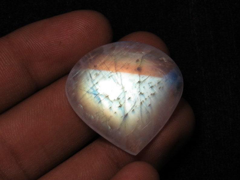 Rainbow Moonstone Smooth Multi Fire Heart Shape Cabochon Huge Size 20-21 mm 1 pcs