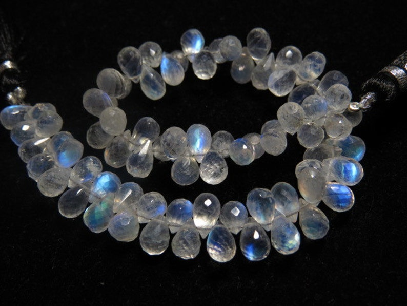 High Quality Micro Faceted Tear Drops Briolettes Gorgeous Blue Flashy Fire sparkle size- 8 Rainbow Moonstone AAAAA 8 Inches mm Long