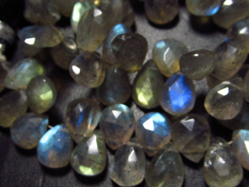 8 inches Full Strand 10-12 mm Long approx AAA High Quality Faceted Pear Briolettes So Gorgeous Full Flashy Fire size LABRADORITE