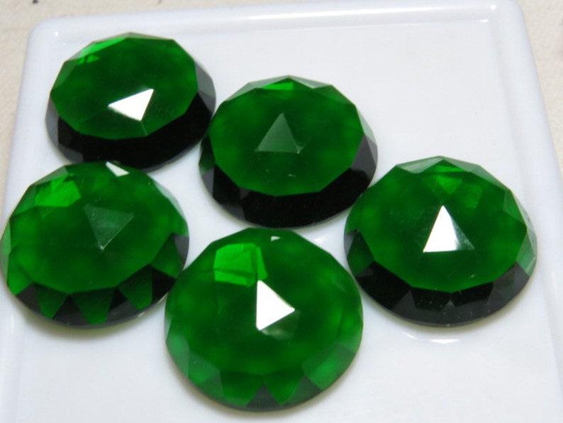 Emerald Green Color Men Made Stone QUARTZ 10 pcs So Gorgeous Nice Color Super Sparkle Rose Cut Cabochon  size 19x19 mm