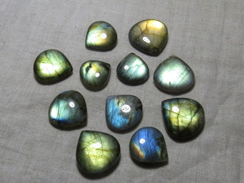 14-19 mm Smooth Polished Heart shape Briolletes so  Gorgeous Multy Fire Huge size AAA 11 pcs DRILLED Labradorite High Quality