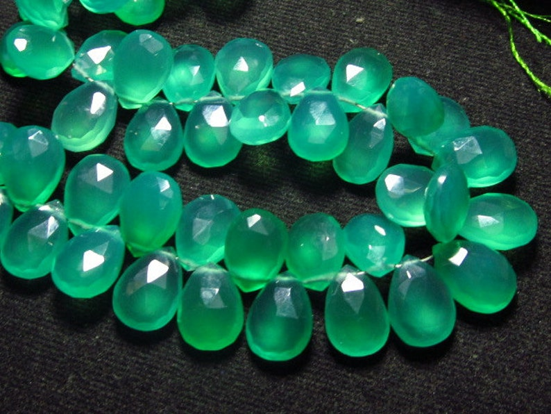 GREEN Onyx 8x11 mm Long Gorgeous Green Colour Faceted Sparkle NEW  Arrival 12  strand  Matched Pair