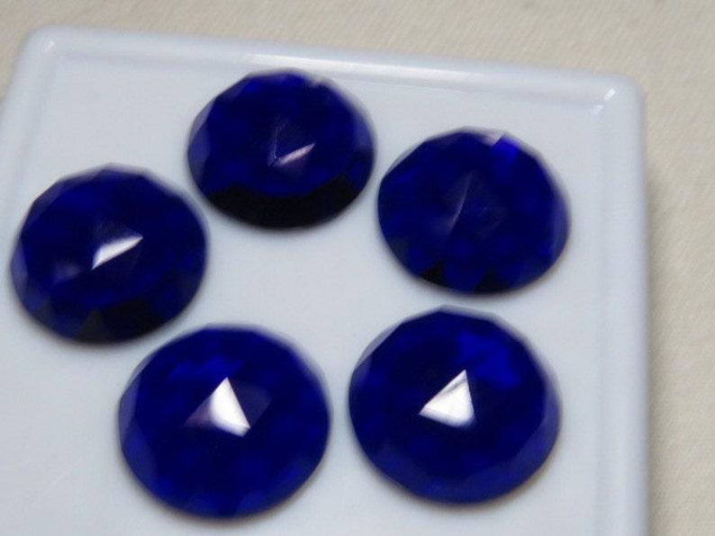 10 pcs So Gorgeous Nice Color Super Sparkle Rose Cut Cabochon  size 18x18 mm QUARTZ Kashmiri Blue Color Men Made Stone
