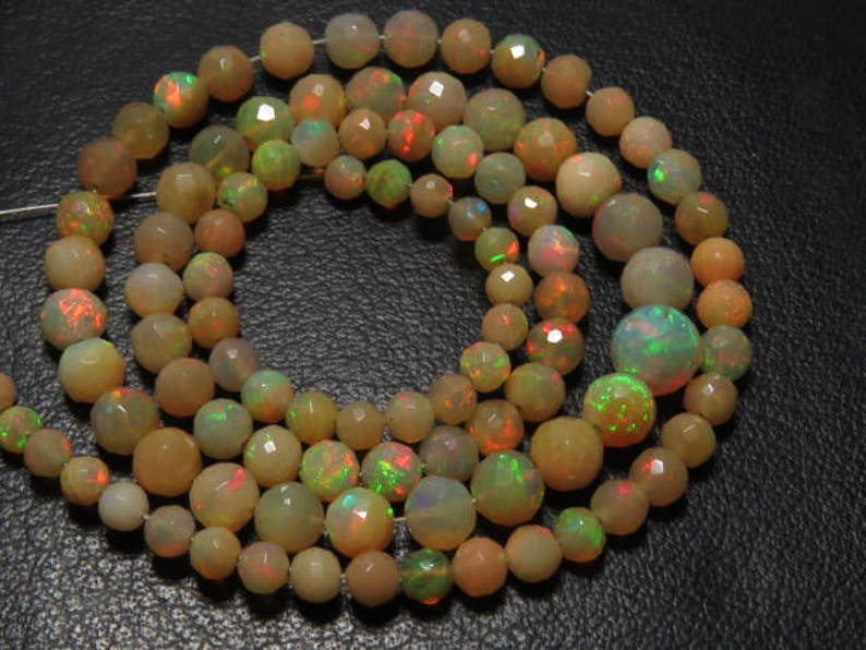 16 inches Long size 4-7  mm Micro Faceted Round Ball Beads Full Colour Full Fire Welo Ethiopian Opal Gorgeous  Quality