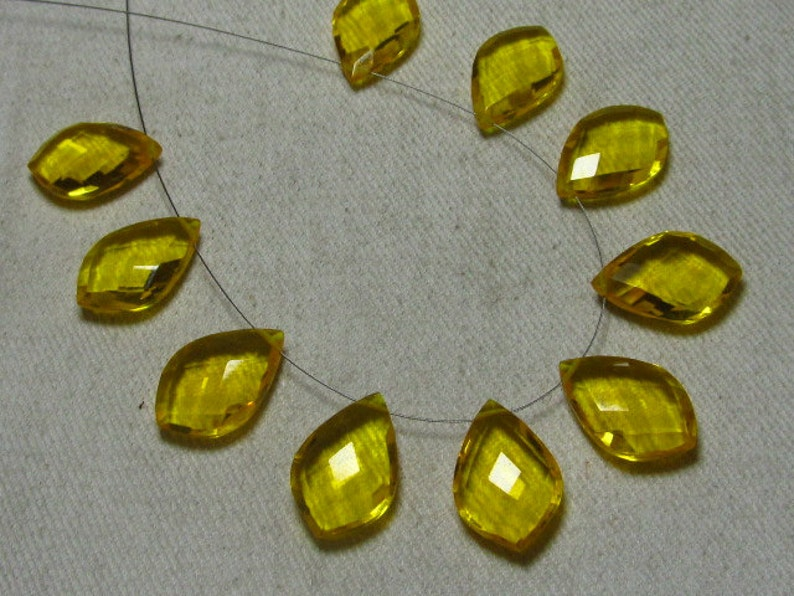 12x18 mm 4 Matched Pair Fancy Dew Drops Briolett Super Sparkle Huge size AAAA High Quality Gorgeous Citrine QUARTZ