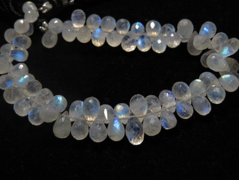 High Quality Micro Faceted Tear Drops Briolettes Gorgeous Blue Flashy Fire sparkle size 9-11 mm Long 8 Inches AAA Rainbow Moonstone