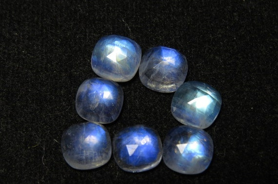 AAAAA 8 mm que que mm taille de coussin Rose Cabochon - magnifique Pierre de lune arc en ciel - Super Sparkle 7 pcs 0b9f85