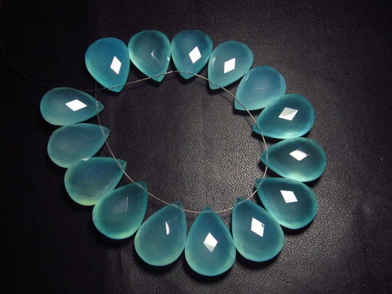AAAA Faceted Pear  Briolett 5 Matching Pair 10x14 mm High Quality Gorgeous AQUA Colour Chalcedony