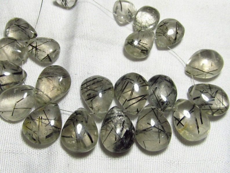 21 pcs 9x14-11x15 mm approx Rare Quality Items 153  ctw BLACK RUTILATED QUARTZ Smooth Polished Pear Briolettes Size