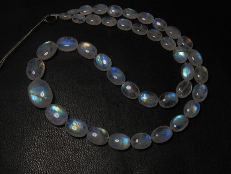 AAAA Awesome High Quality So Gorgeous Rainbow MOONSTONE 14 Inches 6-13 mm Smooth Oval Briolett Blue Fire size