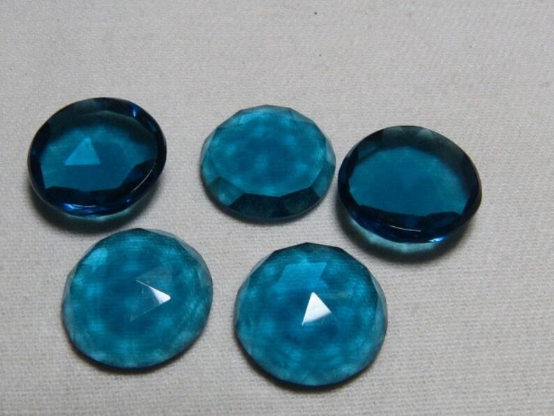 So Gorgeous Nice Color Super Sparkle Rose Cut Cabochon  size 15x15 mm 10 pcs Men Made Stone London Blue Topaz Color QUARTZ