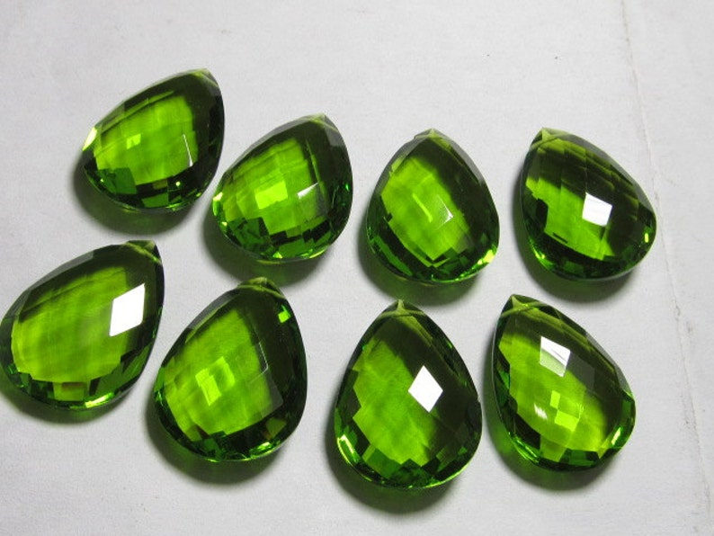 drilled High Quality Gorgeous Peridot colour Quartz Pear Briolett Super Sparkle Huge size 4 Matched Pair AAAA 16x22 mm