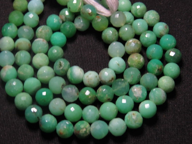 14 inches CHRYSOPHRASE  Micro Faceted Round Balll Beads super Sparkle size 6 mm approx So Gorgeous Quality Natural Green