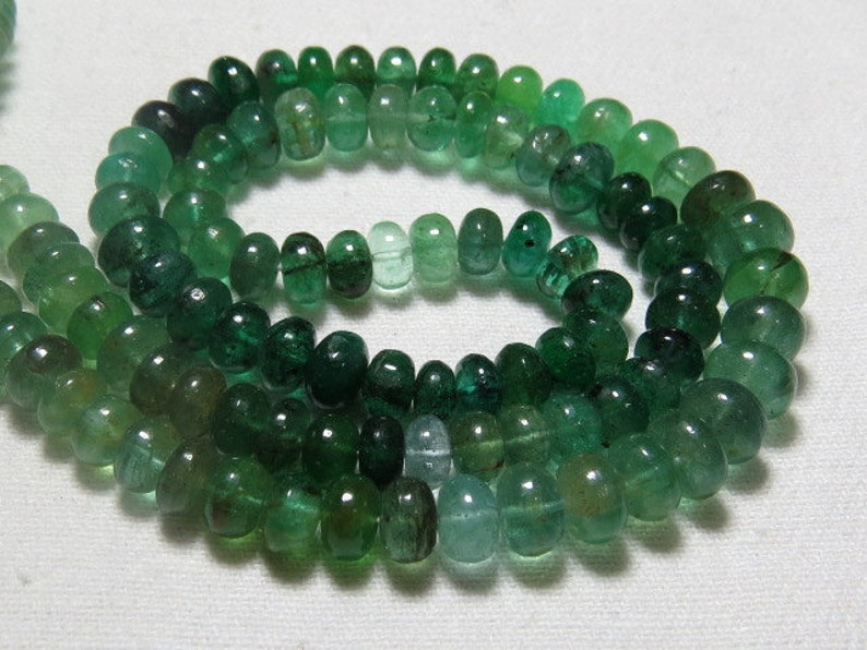 AAAA High Quality Shaded Smooth Polished Rondell Beads Huge Size 5-6 mm approx 16 Inches Full Strand EMERALD